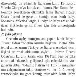 06.05.2019-Türkiye ile İtalya Arasındaki Ticareti Katlayacaklar(Ticaret Gazetesi İzmir)