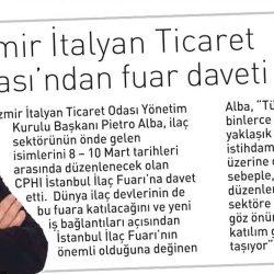 27.02.2017-İzmir İtalyan Ticaret Odasından Fuar Daveti(Ege Telgraf)