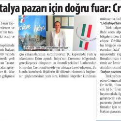 27.07.2019-Hayvancılıkta İtalya Pazarı İçin Doğru Fuar, Cremona Fiere (Ticaret Gazetesi İzmir)