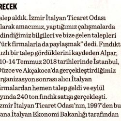 09.11.2018-Türk Meyve Sebzeciler İtalyan Pazarına Girecek(Dünya)