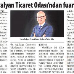 23.07.2018-İZMİR İTALYAN TİCARET ODASINDAN FUAR ÇAĞRISI-ticaret gazetesi